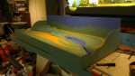 This evening I finished both layers of primer on the layout and around the sides. Also started with art paint, the paint you actually will see when all is finished. I add layer by layer, until I get the effect I am after. Still in the very beginning, ...