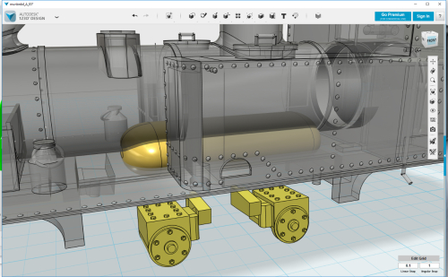 3D model  -- yellow cylinder in the middle shows what part has to go to make room for the RAR chassis