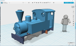 While waiting for the bogies to be printed I got a bit further on the loco, adding front hatch, chimney etc other details. Almost complete now, a couple of rivets here and there (uncounted..) and she should be ready to print!  Mark Clark´s chassi will...