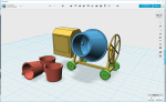 Made this cement mixer for a couple of friends, inspired by the MiniArt version. Uploaded to ShapeWays it will probably be more expensive than the MiniArt version, but on a home printer it is pennies.. Photos when printed..