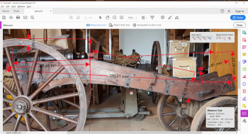 Now when I had both closeup photos of the real deal, plus also a lot measures on all major parts, I could start draw up the cannon. As you can see on the first picture I use the free download of Adobe Acrobat Reader DC to measure. Since I know the real...