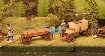 Painted the mill and bullet wagon this evening. This was the last of the cannons and wagons for now. Next is building a (real) diorama and make something