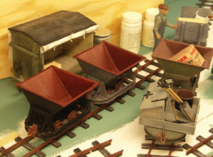 This month I have continued assembling the remaining skips and flats plus  started on the factory buildings.