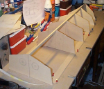 Some pictures showing building progress. This is my first modelboat building project. When finished it will be controlled with 4 R/C channels.