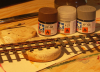 April 2011 -- My recepie for nice tracks. Tamiya Sea gray XF-54 and Nato brown XF-68, both with a bit extra flat base added.<p>